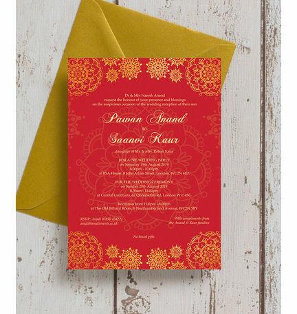 Red U0026 Gold Indian / Asian Wedding Invitation
