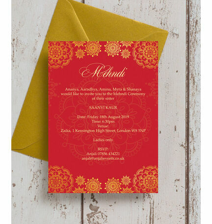 Red Gold Mehndi Baraat Card from 100 each
