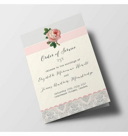 Sweet Vintage Wedding Order of Service Booklet
