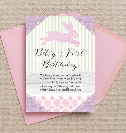 Pastel Bunny Party Invitation