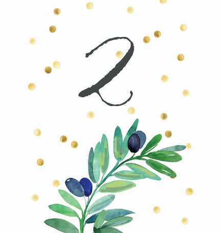 Olive Wreath Table Number