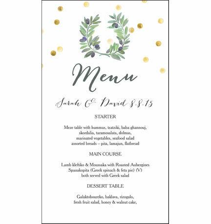 Olive Wreath Menu