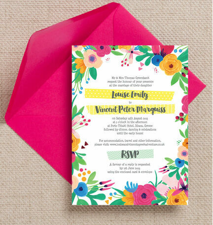 Floral Fiesta Wedding Invitation