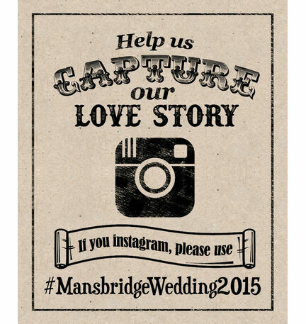 Printable Rustic Kraft Instgram Wedding Hashtag Sign