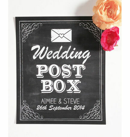 Vintage Chalkboard Wedding Post Box Sign or Poster