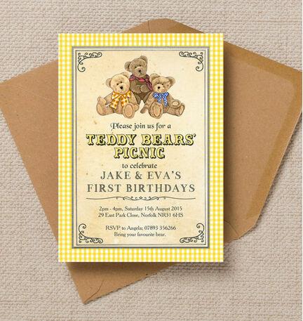 Teddy Bears' Picnic Kids Party Invitation
