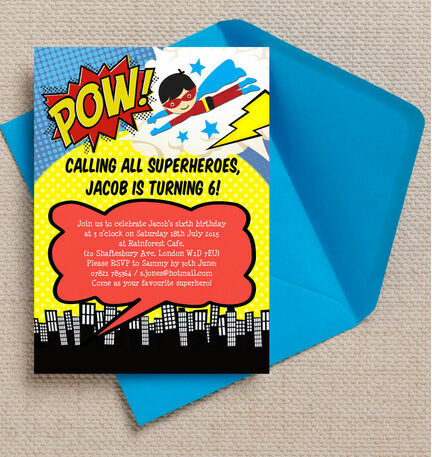 Superhero Children's Party Invitation