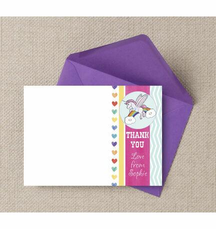 Rainbow Unicorn Thank You Cards