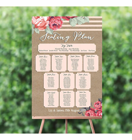 Rustic Floral Wedding Seating Plan