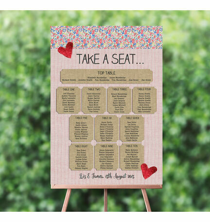 Country Textiles Wedding Seating Plan
