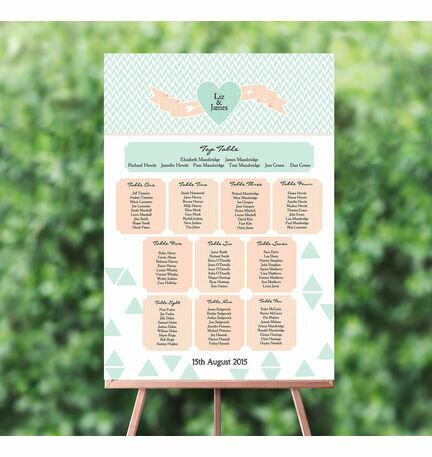 Pastel Bohemian Wedding Seating Plan