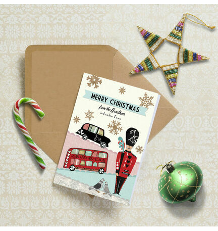 Illustrated London Themed Personalised Christmas Cards