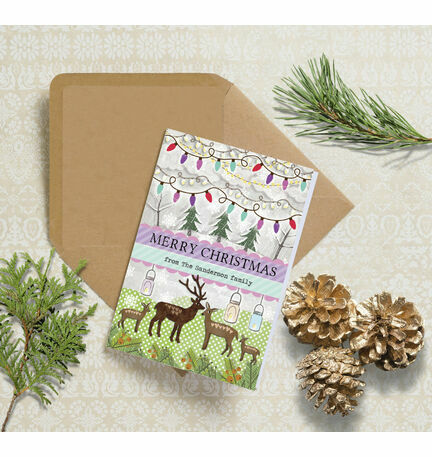 Woodland Deer Personalised Christmas Cards