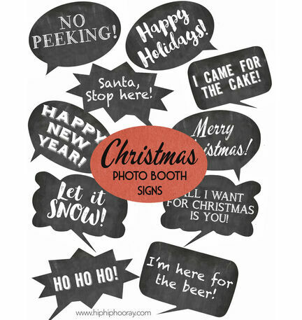 Christmas Holiday Chalkboard Speech Bubble Slogans - Printable Photo Booth Props
