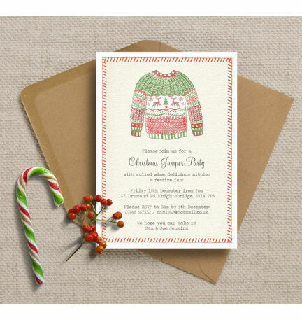 Personalised Christmas Jumper Party Invitations - Printed or Printable