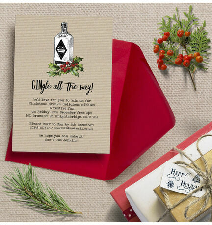 'GINgle all the way' Personalised Christmas Party Invitations - Printed or Printable