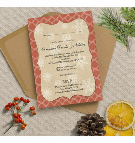 Rustic Red & Kraft Vintage Personalised Christmas Party Invitations - Printed or Printable