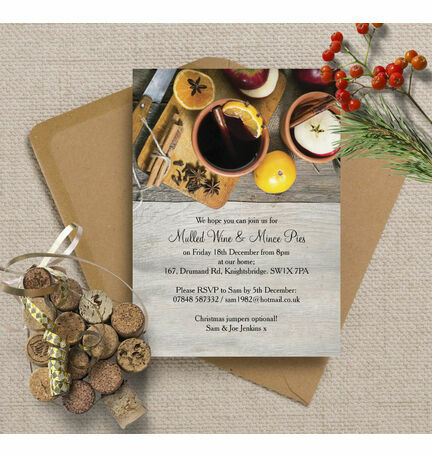 Mulled Wine & Mince Pies Personalised Christmas Party Invitations - Printed or Printable