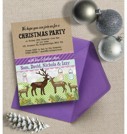 Personalised 'Woodland Deer' Christmas Party Invitations - Printed or Printable