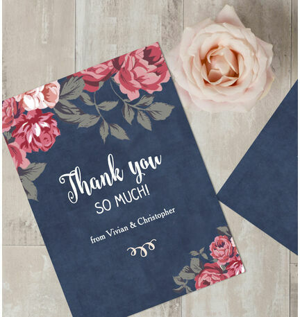 Personalised Rustic Floral Thank You Cards