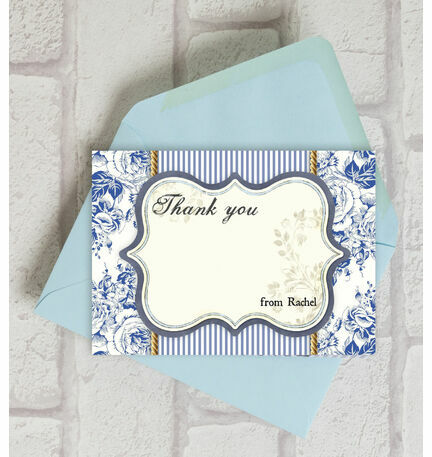 Personalised French Toile Thank You Cards