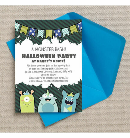 Personalised Monster Bash Halloween Party Invitations - Printable or Printed