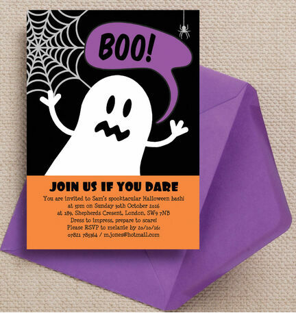 Halloween Ghost Personalised Party Invitations - Printable or Printed