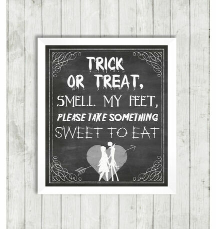 Halloween Jack & Sally Trick Or Treat Party Wedding Sign - Printable or Printed