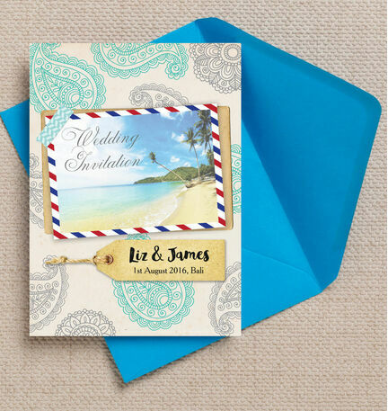 Exotic Beach Postcard Wedding Invitation