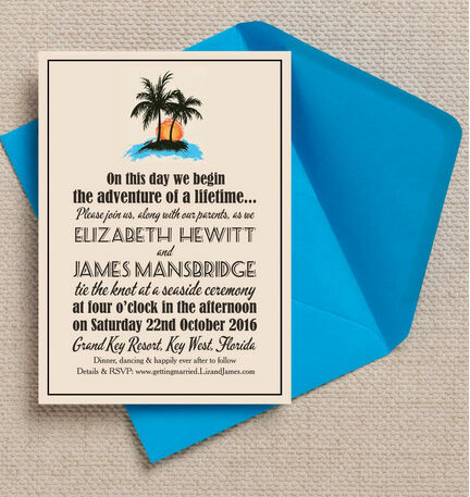 Retro Palm Trees Wedding Invitation