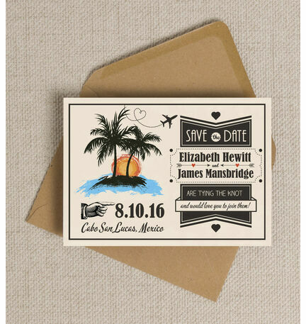 Retro Palm Trees Save the Date