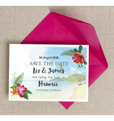 Tropical Beach Flowers Postcard Save the Date