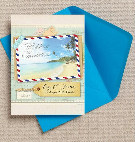 Tropical Beach Postcard Wedding Invitation