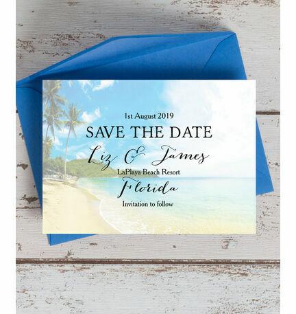 Tropical Beach Postcard Save the Date