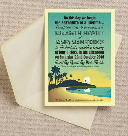 Tropical Beach Sunset Wedding Invitation