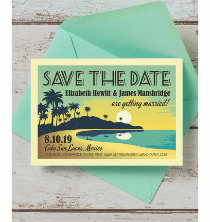 Tropical Beach Sunset Save the Date
