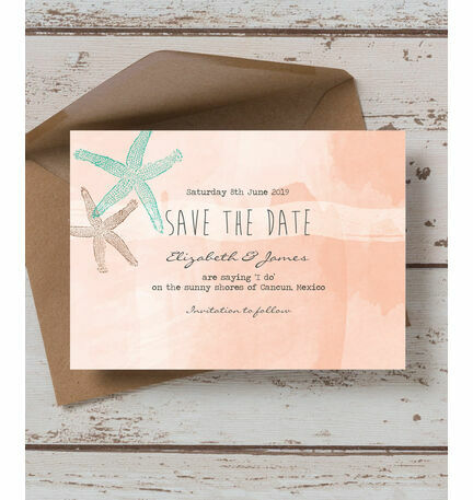 Tropical Watercolour Starfish Save the Date