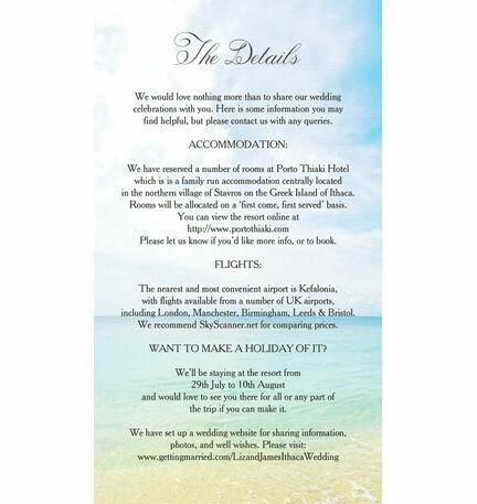 Beach Postcard Guest Information Card