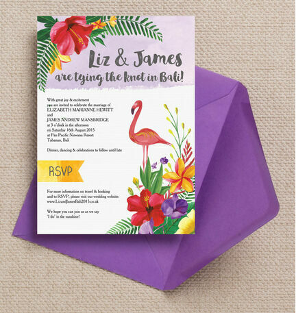 Tropical Flamingo Wedding Invitation