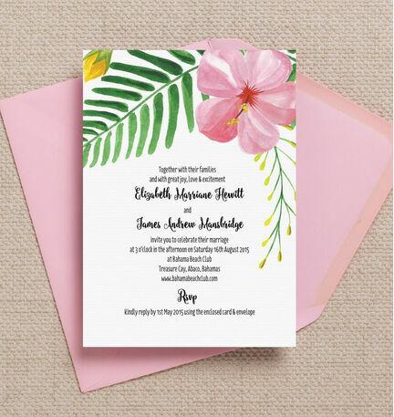 Tropical Flower Destination Wedding Invitation