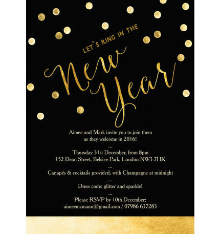 Black and Gold Confetti New Years Eve Party Invitation