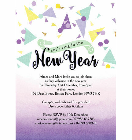Colourful Confetti New Years Eve Party Invitation
