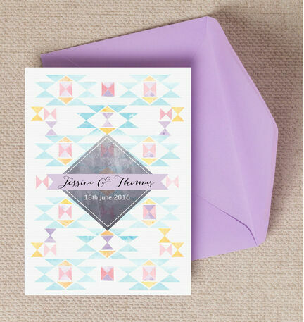 Pastel Geometric Wedding Invitation