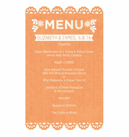Mexican Inspired Papel Picado Wedding Menu