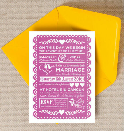 Mexican Inspired Papel Picado Wedding Invitation