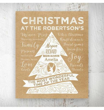 Personalised Rustic Kraft Christmas Tree Print