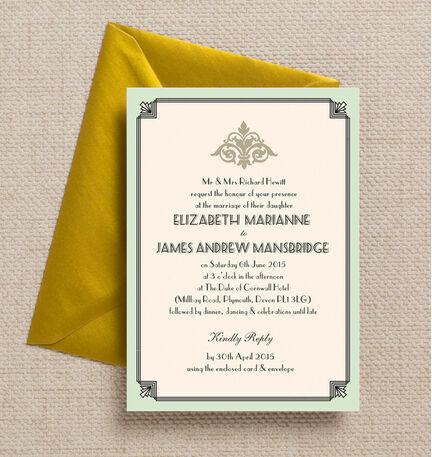 Pastel Art Deco Wedding Invitation
