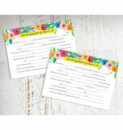Floral Fiesta Wedding Wishes & Words of Wisdom Cards from £0.75 each