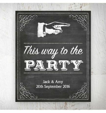 Vintage Chalkboard 'This Way to the Party' Personalised Wedding Print
