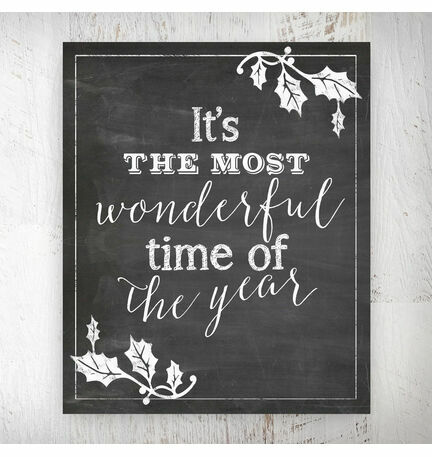 It's the Most Wonderful Time of the Year' Chalkboard Print - Printed or Printable